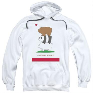 6097031d We Bare Bears Cali Stack Adult White Hoodie